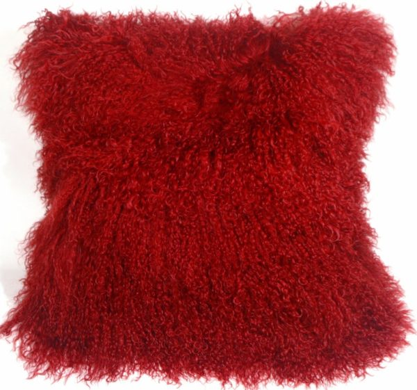 Red mongolian fur pillow square