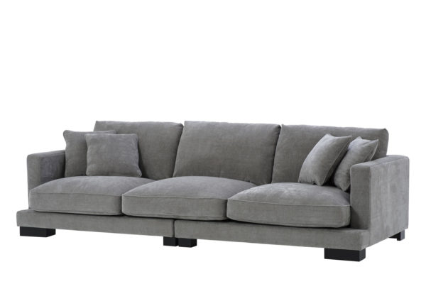 Tuscany grey upholstered sofa front view