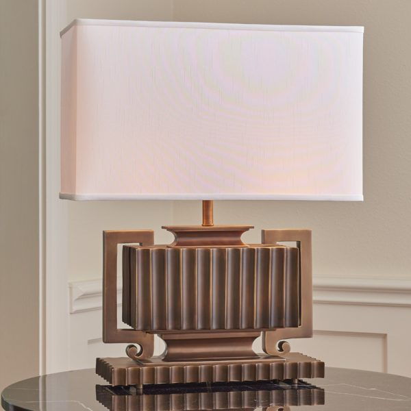 Fluted light bronze table lamp