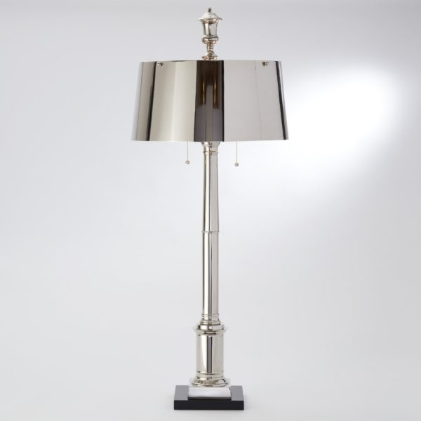 Library Table Lamp in Nickel