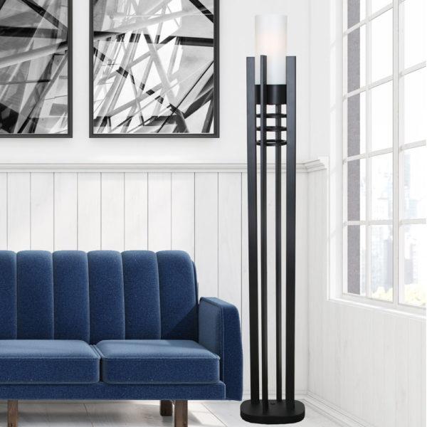 Night Tower Black Floor Lamp