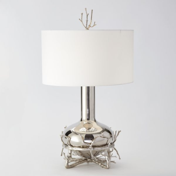 Twig Fat Table Lamp Nickel