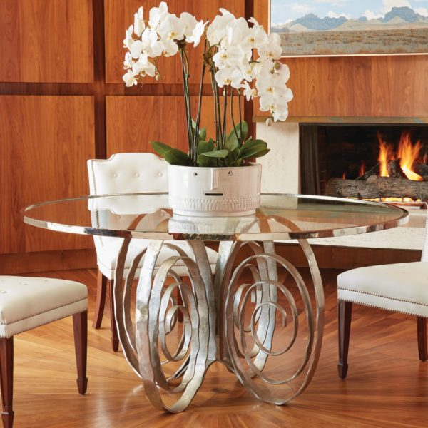 Weathervane Dining Table in Nickel finish