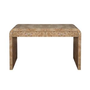 Burl wood desk in a light finish