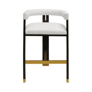 Luxe White Linen Tall Bar Chair