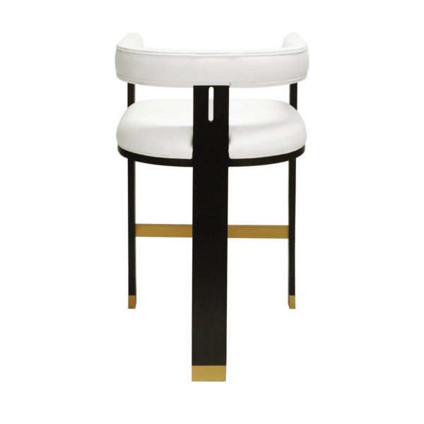 Luxe White Linen Tall Bar Chair Backside