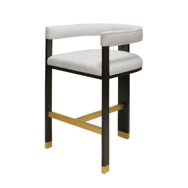 Luxe White Linen Tall Bar Chair side