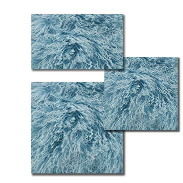 Mongolian Fur Pillows in Ice Blue color.