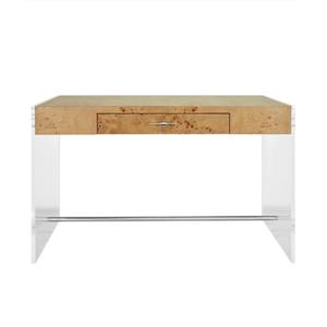 Burl Wood and Acrylic Desk