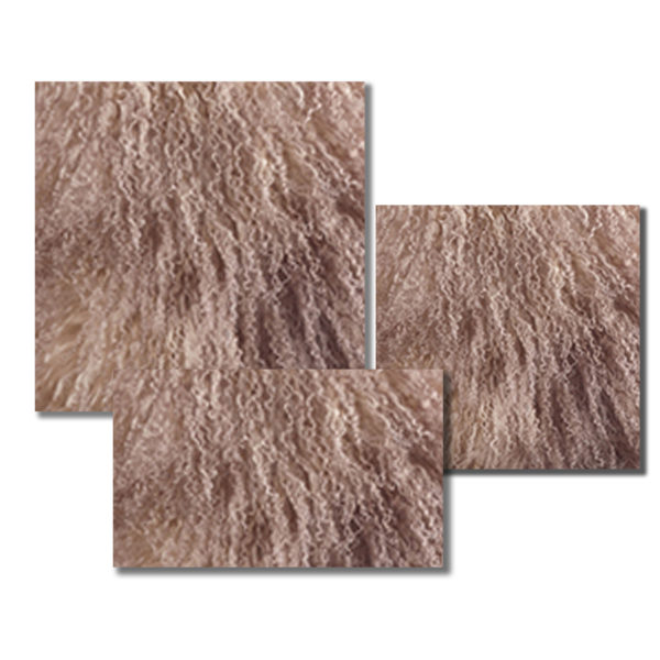 Mongolian Fur Pillow in an Oyster color.