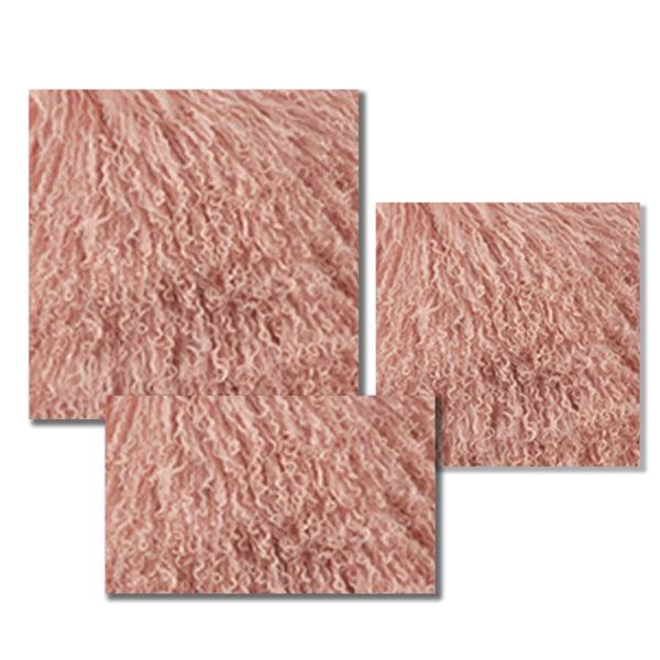 Mongolian Fur Pillow in Rose color