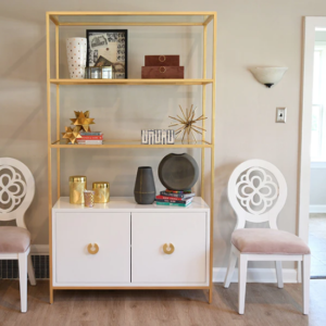 White and gold leaf display cabinet