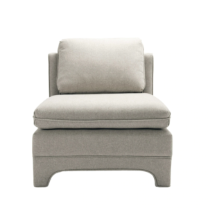 Slipper Chair in Natural Linen upholstery.
