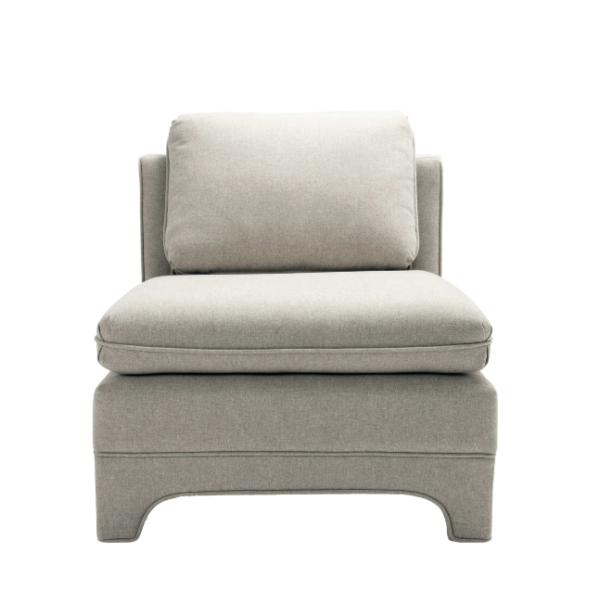 Slipper Chair in Natural Linen upholstery.