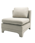 Slipper Chair in Natural Linen side angle