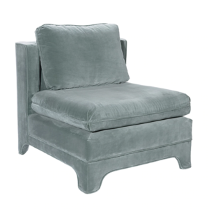 Slipper Chair in Seafoam Velvet Upholstery