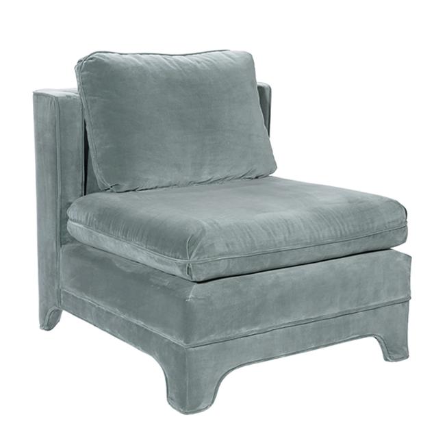 Slipper Chair in Seafoam Velvet Upholstery