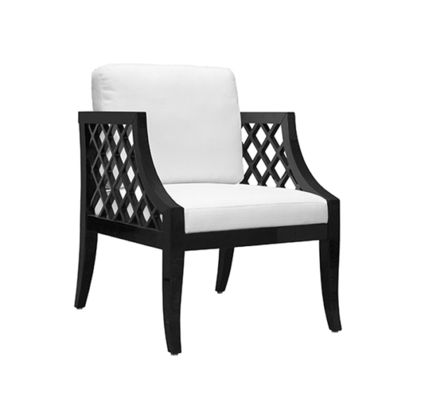 Lattice side chair in black lacquer