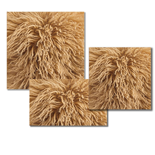Mongolian Fur Pillow in Tuscan Gold color.