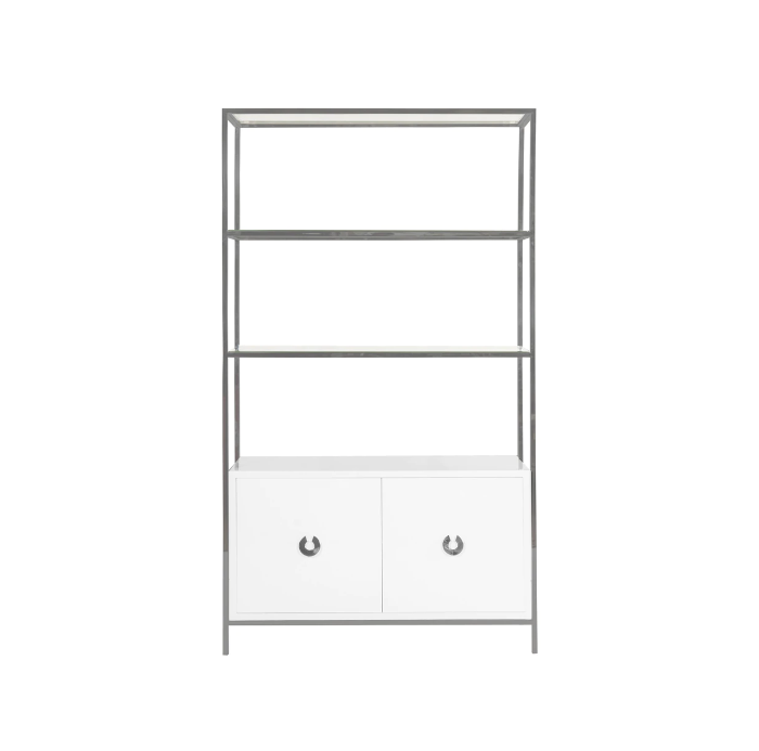 White Lacquer Cabinet with Shelves