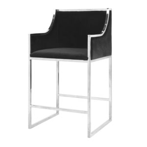 Black & Nickel Bar Stool