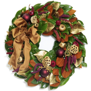 Golden Merlot Magnolia Wreath