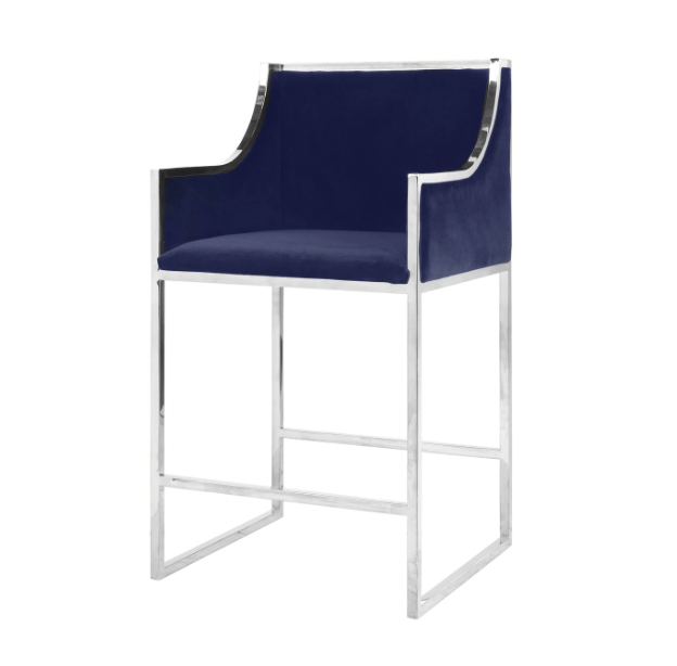 Navy & Nickel Counter Chair
