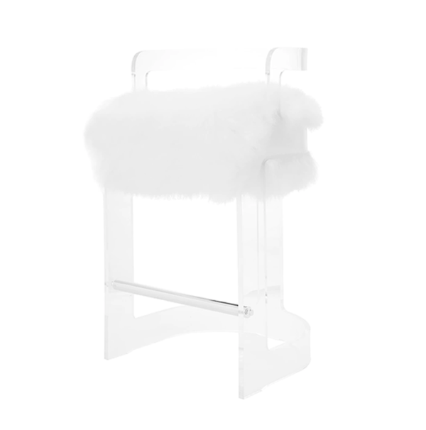 Malone Counter Chair white fur