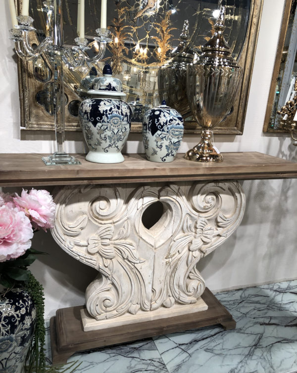 Wing Scroll Console Table