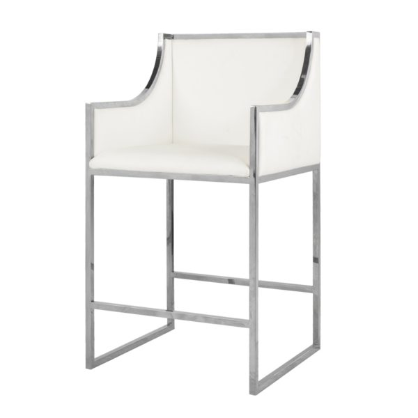 Nickel & White Leather Counter Stool