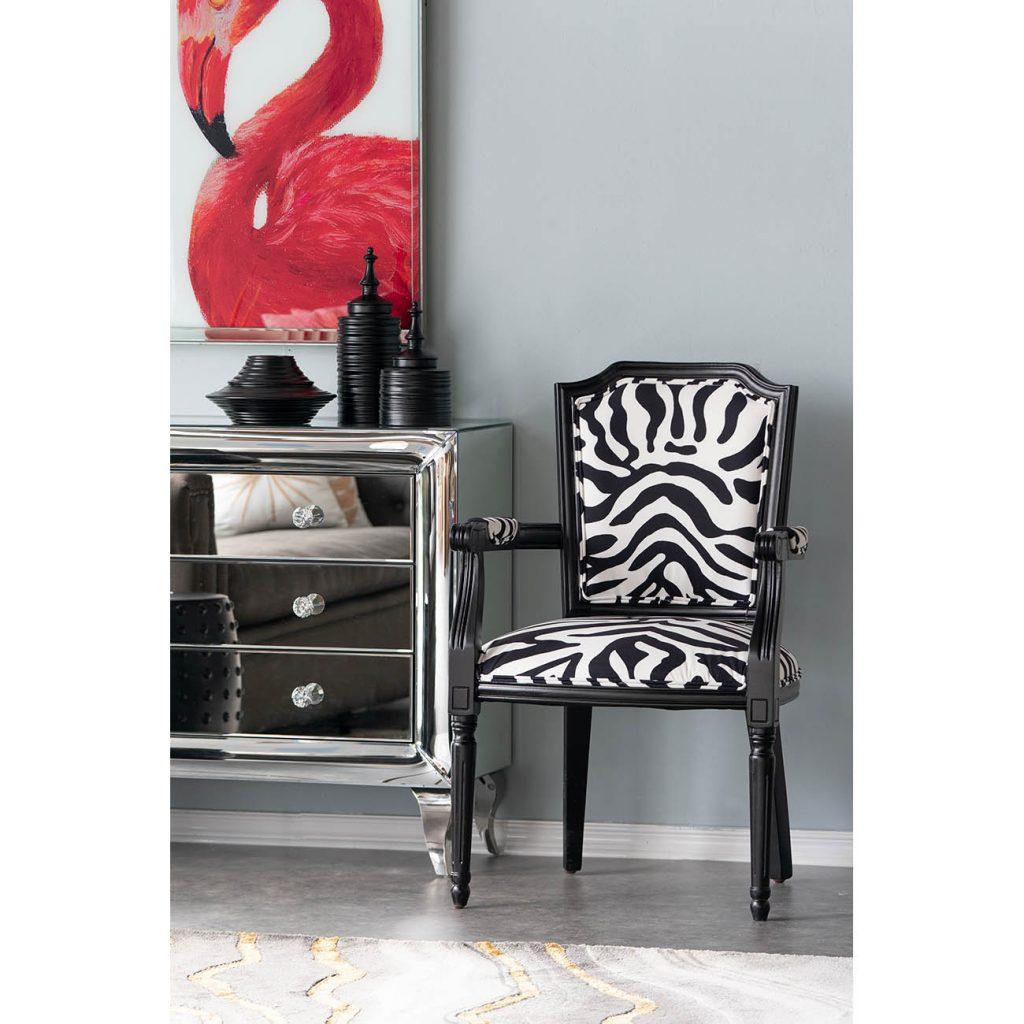Black Zebra Upholstered Arm Chair