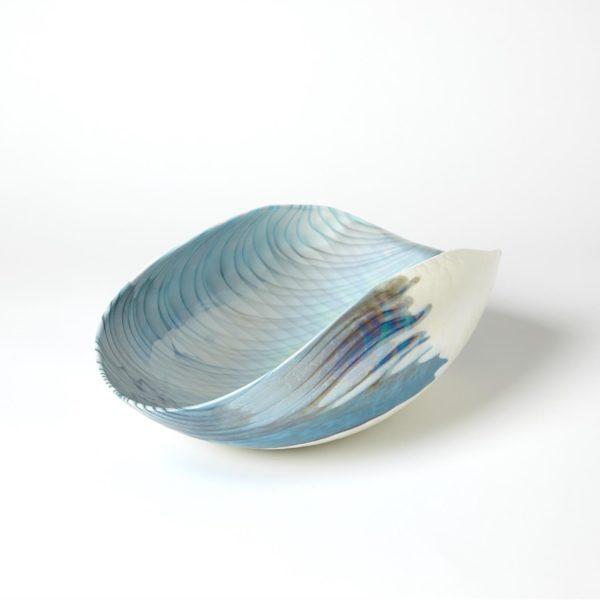 Ivory Turquoise Feather Swirl Oval Folded Bowl
