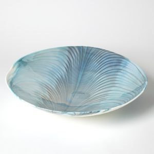 Murano Glass Ivory Turquoise Centerpiece Bowl/charger