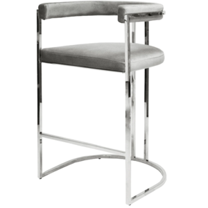 Barrel Back Bar chair in grey front