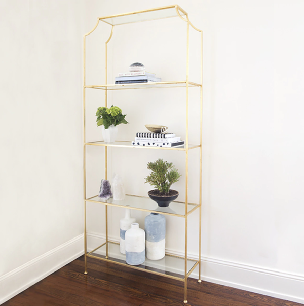 Chloe Etagere in Gold Leaf finish and glass shelves.