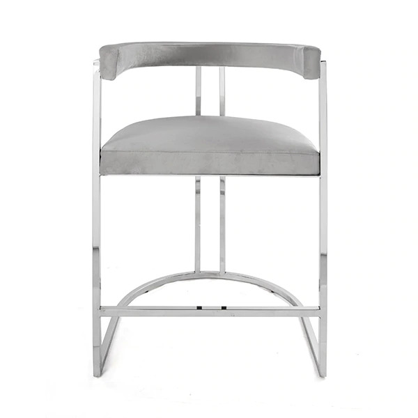 Barrel Back counter chair in Grey Upholstery