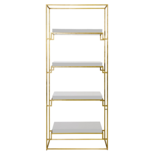 Gold Leaf Etagere with white lacquer shelves
