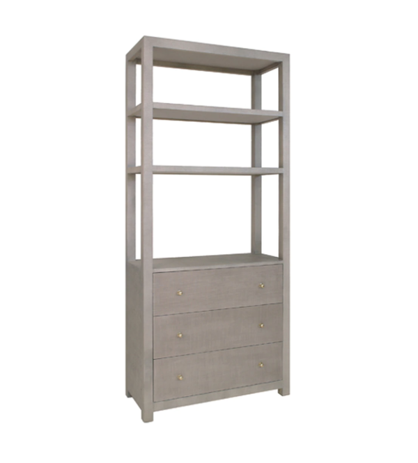 Grey Grasscloth display cabinet side angle.