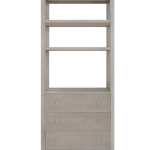 Grey Grasscloth display cabinet front angle.
