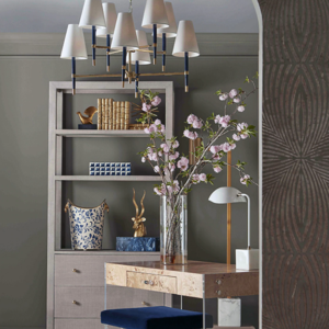 Grey Grasscloth display cabinet