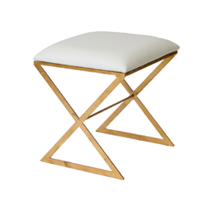 White faux ostrich stool with gold leaf base.
