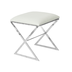 White faux ostrich stool with nickel base.