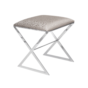 X-style Stool in Silver dot upholstery