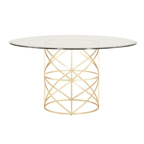 Spherical Dining Table in Gold Leaf finish.