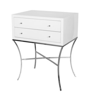 White Lacquer Side Table with Nickel base.