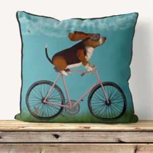 Basset hound on Bike sky background