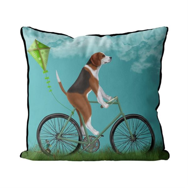 Beagle on bicycle and blue sky background