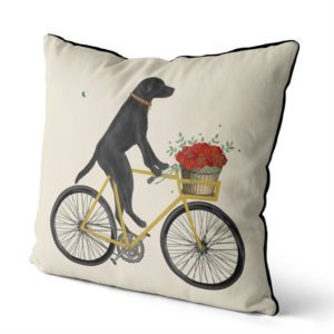 Black Lab on Bike Pillow with sky background side