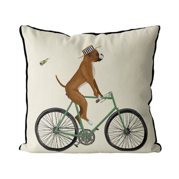 Boxer on bike pillow cream background side