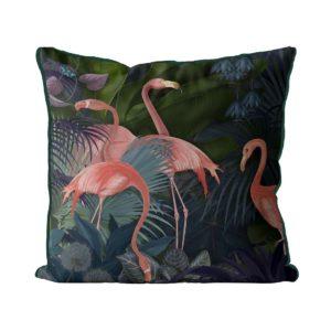 Flamingos in Blue Garden Pillow